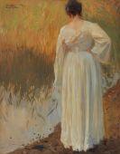 Carl von Marr - Dora im wei�en Kleid am Ufer