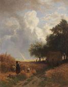 Albert Kappis - Der glückliche Moment - Vorbeiziehendes Unwetter mit Regenbogen bei der Getreideernte