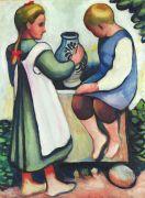 August Macke - Kinder am Brunnen II