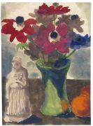 Emil Nolde - Anemonen in gr�ner Vase, Orangen und eine Skulptur