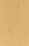 Gustav Klimt - Schwangere im Profil nach links, Studie zu
