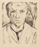 Max Beckmann - Selbstbildnis von vorn, im Hintergrund Hausgiebel