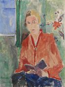 Oskar Moll - Lesende mit roter Jacke