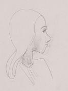 Karl Hofer - Konvolut: Mädchenköpfchen - nach rechts. Paar, sie en face. Gewandfigur