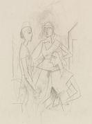 Karl Hofer - Konvolut: Drei Frauen im Gespräch. Gruppe mit sieben Figuren (verso: Drei Figuren). Sitzendes Mädchen mit verschränkten Armen (verso: Kopf)