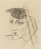 Karl Hofer - Konvolut: Kopf mit Schirmmütze. Bühnenszene (mehrere Figuren). Blatt 9 aus der Mappe