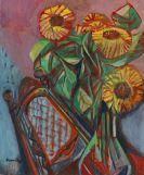 Bruno Krauskopf - Sonnenblumen in gl�sernem Krug auf Stuhl