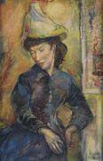 Unbekannt - Brustbild Thilde Hofer mit Hut