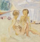 Erich Heckel - Frau und Kind am Strand