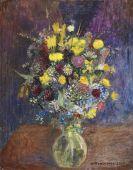 Otto Modersohn - Blumen vor blauget�ntem Grund