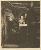 Käthe Kollwitz - 3 Radierungen u. 3 Lithografien (Die Weber). 1906-1918.