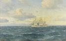 Johannes Holst - Weiße Dreimastbark auf ruhiger See