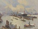 Willy Stöwer - Hamburger Hafen mit der