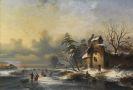 Niederlande - Winterlandschaft mit zugefrorenem Kanal und Eisläufern