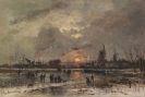 Adolf Stademann - Wintervergnügen am zugefrorenen Fluß