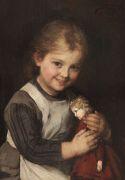Franz von Defregger - Kind mit Puppe