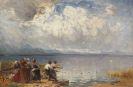 Joseph Wopfner - Fischer und Mönche am Ufer