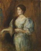 Franz von Lenbach - Porträt einer Dame mit Perlenkette und Pelzstola