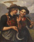 Franz von Defregger - Zwei junge Dirndl mit Rechen und Sichel