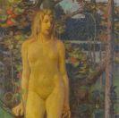Erich Erler - Stehender weiblicher Akt im Garten