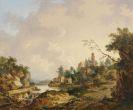 Ferdinand (von) Kobell - Ideale Flußlandschaft mit Schloß, Wasserfall und Personenstaffage