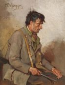 Franz von Defregger - Sitzender Jäger