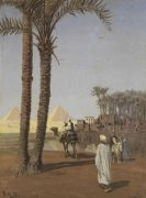 Hans Andersen Brendekilde - Orientalische Szene, im Hintergrund die Pyramiden von Gizeh