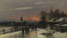 Anders Andersen-Lundby - Winterlicher Kirchgang in der Dämmerung