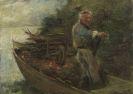 Joseph Wopfner - Alter Mann im Boot