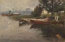Karl Raupp - Idylle am Chiemsee - Raddampfer vor der Fraueninsel, am Ufer ein Fischer im Kahn