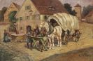 Wilhelm Velten - Fuhrwerk am Dorfbrunnen