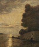 Hans Thoma - Sonnenuntergang am Oberrhein