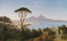 Albert August Zimmermann - Blick vom Posillipo auf die weite Bucht von Neapel mit rauchendem Vesuv