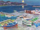 Arnold Balwé - Fischerboote am Abend (Marina di Campo, Insel Elba)