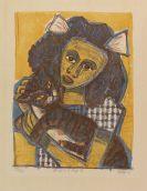 Otto Dix - Mädchen mit Katze II (Kopf Schräg)