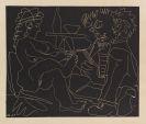 Pablo Picasso - Peintre dessinant et modèle nu au chapeau