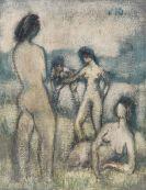 Otto Mueller - Vier Badende (Stehende und liegende weibliche Akte, Badende, Vier lebensgroße Akte auf der Wiese)