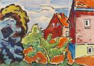 Karl Schmidt-Rottluff - Häuser hinter Bäumen