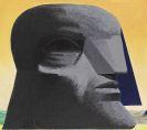 Horst Antes - großer grauer kopf mit blauer florentiner Kappe