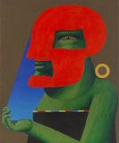 Horst Antes - Porträt mit Roter Gesichtsmaske und blauem Gesichtsfeld