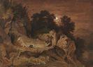 Richter, Adrian Ludwig - Hirten am Feuer (Abendlandschaft)