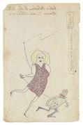 Horst Janssen - Mädchen treibt den Liebsten. Zeichnung auf Papier.