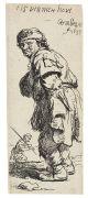 Harmensz. Rembrandt van Rijn - 2 Bll. Stehender Bauer nach links / Stehender Bauer nach rechts. Radierungen.