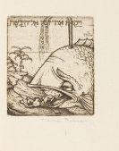 Marcus Behmer - Der Prophet Jona. 1930. Probedruck, Künstlerexemplar.