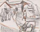 Ernst Ludwig Kirchner - Landschaft mit Personen und grasender Kuh / verso: Bauer
