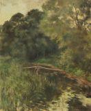 Lotte Laserstein - Baumreiche Landschaft mit Steg am Waldteich