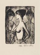 Otto Mueller - Mädchen-Halbakt im Profil (vor einem Bild)