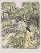 Otto Mueller - Waldsee mit drei badenden und einem sitzenden Mädchen 2