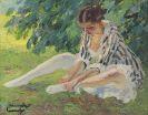 Edward Cucuel - Auskleidend (Sitzende im Gras)