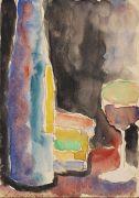 Jawlensky, Alexej von - Stilleben mit Glas und Flasche